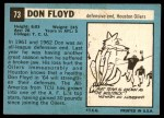 1964 Topps #73  Don Floyd  Back Thumbnail
