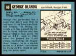 1964 Topps #68  George Blanda  Back Thumbnail