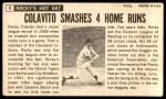1964 Topps Giants #9  Rocky Colavito   Back Thumbnail