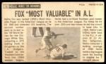1964 Topps Giants #13  Nellie Fox   Back Thumbnail