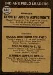 1973 Topps #449 BRN  -  Ken Aspromonte / Rocky Colavito / Joe Lutz / Warren Spahn Indians Leaders Back Thumbnail