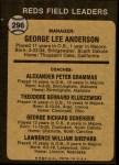 1973 Topps #296   -  Sparky Anderson / Alex Grammas / Ted Kluszewski / George Scherger / Larry Shepard Reds Leaders Back Thumbnail
