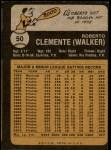 1973 Topps #50  Roberto Clemente  Back Thumbnail
