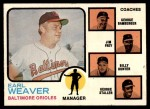 1973 Topps #136 ORG  -  Earl Weaver / George Bamberger / Jim Frey / Billy Hunter / George Staller Orioles Leaders Front Thumbnail