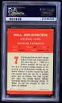 1963 Fleer #7  Billy Neighbors  Back Thumbnail