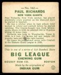 1933 Goudey #142  Paul Richards  Back Thumbnail