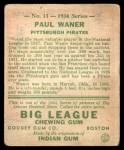 1934 Goudey #11  Paul Waner  Back Thumbnail