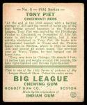 1934 Goudey #8  Tony Piet  Back Thumbnail