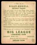 1933 Goudey #11  Billy Rogell  Back Thumbnail