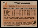 1983 Topps #482  Tony Gwynn  Back Thumbnail