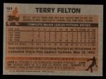 1983 Topps #181  Terry Felton  Back Thumbnail