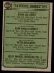 1974 Topps #597   -  Manny Trillo / Pete Mackanin / Dave Chalk / John Gamble Rookie Shortstops Back Thumbnail