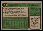 1974 Topps #8  George Theodore  Back Thumbnail