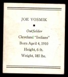 1933 Tattoo Orbit R305 #56  Joe Vosmik   Back Thumbnail