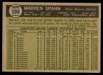 1961 Topps #200  Warren Spahn  Back Thumbnail