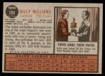 1962 Topps #288  Billy Williams  Back Thumbnail