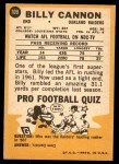 1967 Topps #109  Billy Cannon  Back Thumbnail