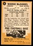 1967 Topps #82  Wahoo McDaniel  Back Thumbnail