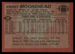 1983 Topps #34  Emery Moorehead  Back Thumbnail