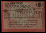 1983 Topps #53  Ron Springs  Back Thumbnail