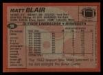 1983 Topps #98  Matt Blair  Back Thumbnail