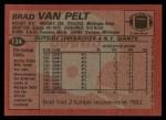 1983 Topps #134  Brad Van Pelt  Back Thumbnail