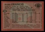 1983 Topps #166  Russ Francis  Back Thumbnail