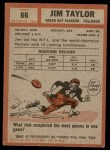 1962 Topps #66  Jim Taylor  Back Thumbnail