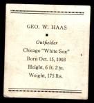1933 Tattoo Orbit R305 #25  George Haas   Back Thumbnail