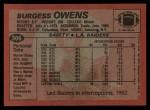 1983 Topps #306  Burgess Owens  Back Thumbnail