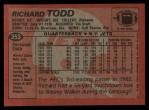 1983 Topps #353  Richard Todd  Back Thumbnail