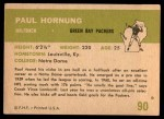 1961 Fleer #90  Paul Hornung  Back Thumbnail