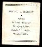 1933 Tattoo Orbit R305 #26  Bump Hadley   Back Thumbnail