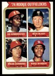 1974 Topps #601   -  Bake McBride / Brian Downing / Ed Armbrister / Rich Bladt Rookie Outfielders  Front Thumbnail