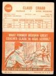 1963 Topps #168  Claud Crabb  Back Thumbnail