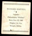 1933 Tattoo Orbit R305 #4  Dick Bartell   Back Thumbnail