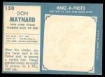 1961 Topps #150  Don Maynard  Back Thumbnail