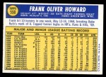 1970 Topps #550  Frank Howard  Back Thumbnail