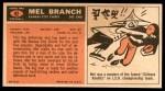 1965 Topps #92  Mel Branch  Back Thumbnail