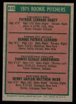 1975 Topps Mini #615   -  Dennis Leonard / Tom Underwood / Pat Darcy /Hank Webb Rookie Pitchers Back Thumbnail