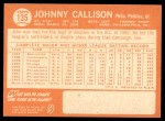 1964 Topps #135  Johnny Callison  Back Thumbnail