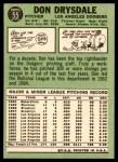 1967 Topps #55  Don Drysdale  Back Thumbnail