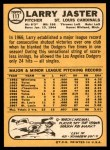 1968 Topps #117  Larry Jaster  Back Thumbnail
