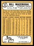 1968 Topps #390  Bill Mazeroski  Back Thumbnail