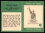 1966 Philadelphia #39   -  Gale Sayers Chicago Bears - Play of the Year Back Thumbnail