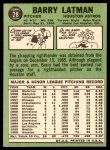 1967 Topps #28  Barry Latman  Back Thumbnail