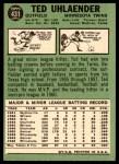 1967 Topps #431  Ted Uhlaender  Back Thumbnail