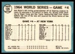 1965 Topps #135   -  Ken Boyer / Elston Howard 1964 World Series - Game #4 - Boyer's Grand Slam Back Thumbnail