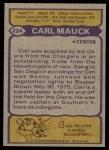 1979 Topps #224  Carl Mauck  Back Thumbnail