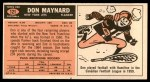 1965 Topps #121  Don Maynard  Back Thumbnail